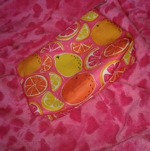 Citrus pink Clinique make up bag🍊🍋